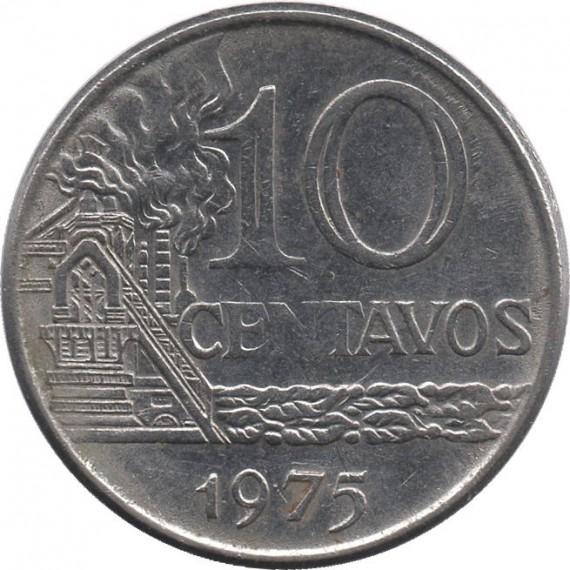 Moeda 10 centavos de cruzeiro - Brasil - 1975 - REF 299