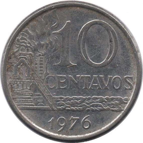 Moeda 10 centavos de cruzeiro - Brasil - 1976 - REF 300