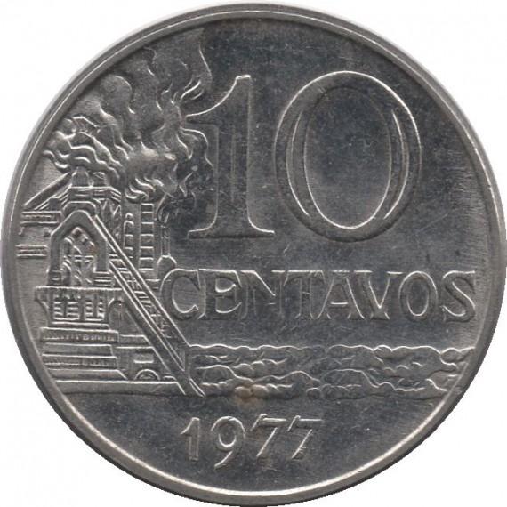 Moeda 10 centavos de cruzeiro - Brasil - 1977 - REF 301