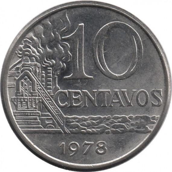 Moeda 10 centavos de cruzeiro - Brasil - 1978 - REF 302