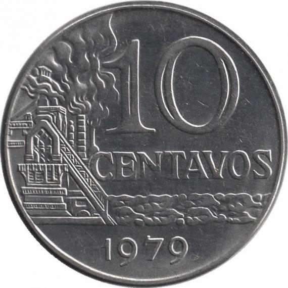 Moeda 10 centavo de cruzeiro - Brasil - 1979
