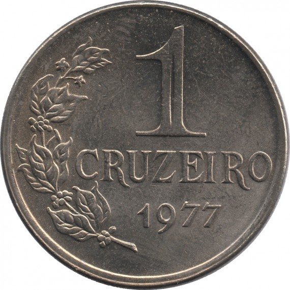 Moeda 1 cruzeiro - Brasil - 1977 - REF 322