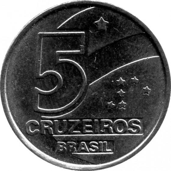 Moeda 5 cruzeiro - Brasil - 1990