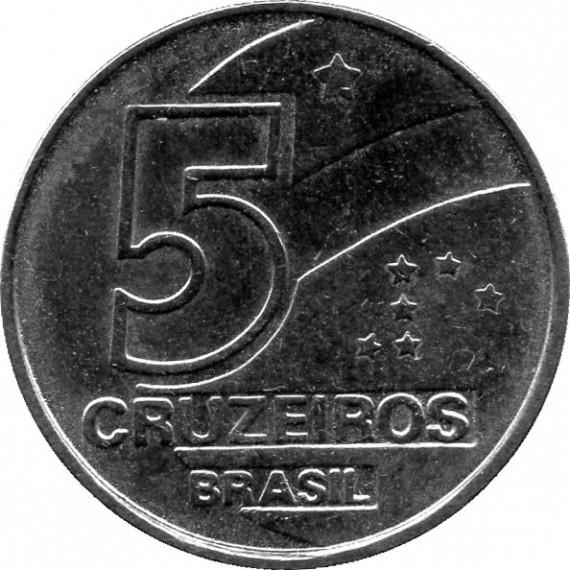 Moeda 5 cruzeiros - Brasil - 1991