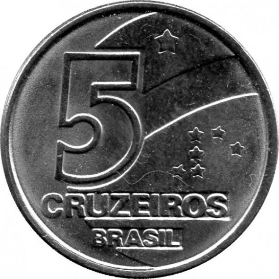 Moeda 5 cruzeiros - Brasil - 1992