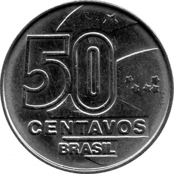 Moeda 50 centavos de cruzados novos - Brasil - 1990
