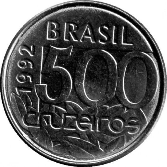 Moeda 500 cruzeiro - Brasil - 1992