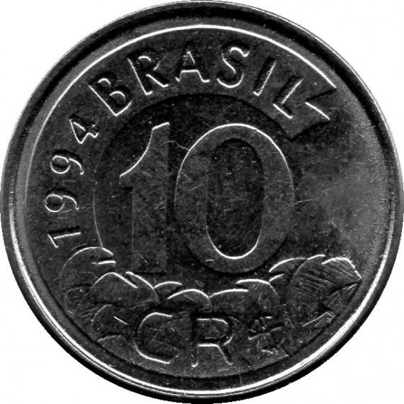 Moeda 10 cruzeiros Real - Brasil - 1994