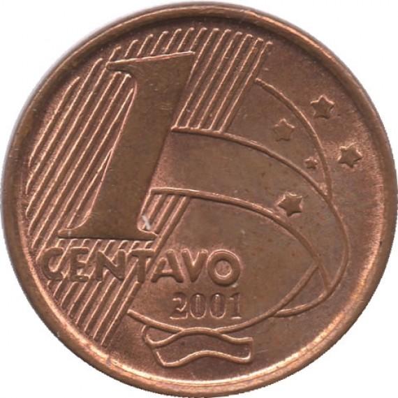 Moeda 1 centavo real - Brasil - 2001