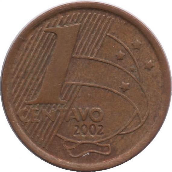 Moeda 1 centavo real - Brasil - 2002