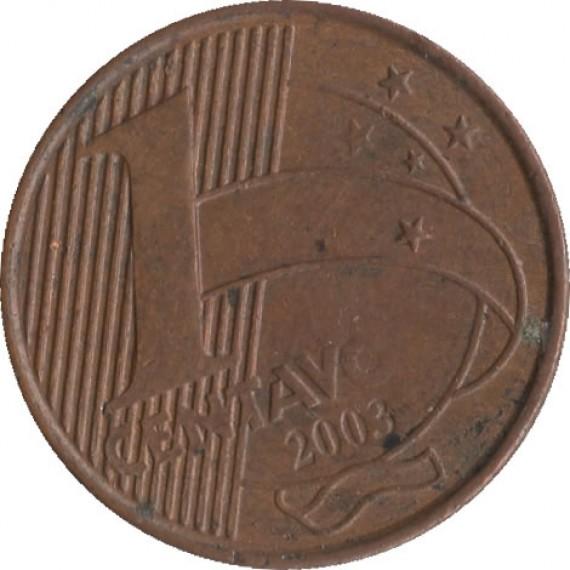 Moeda 1 centavo real - Brasil - 2003