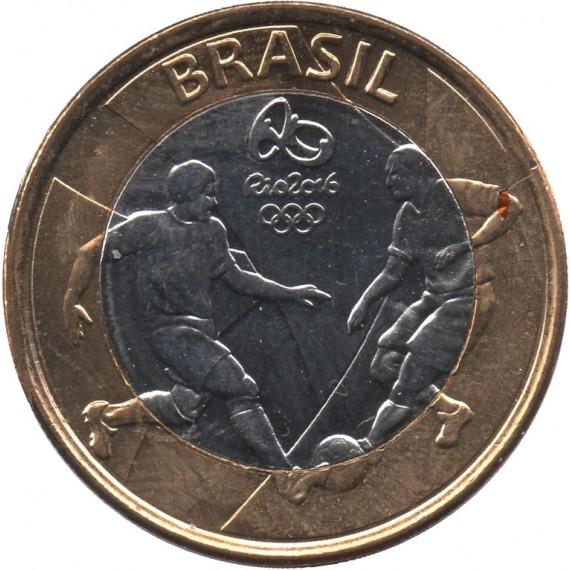 Moeda 1 real - 2015 - Comemorativa Olimpíada Rio 2016 Futebol