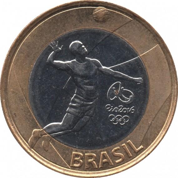 Moeda 1 real - 2015 - Comemorativa Olimpíada Rio 2016 Volei