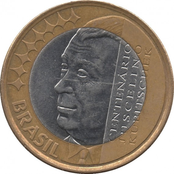 Moeda 1 real - Brasil - 2002  Comemorativa do centenário de Juscelino Kubitschek