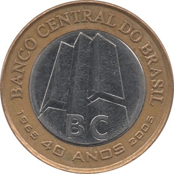 Moeda 1 real - Brasil - 2005 - Comemorativa 40 anos do Banco Central