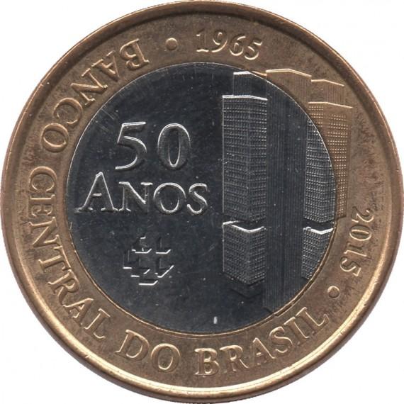 Moeda 1 real - Brasil - 2015 - Comemorativa 50 anos do Banco Central