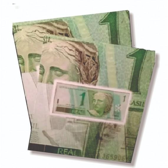 Cartela com cédula de R$ 1,00 (Brasil)