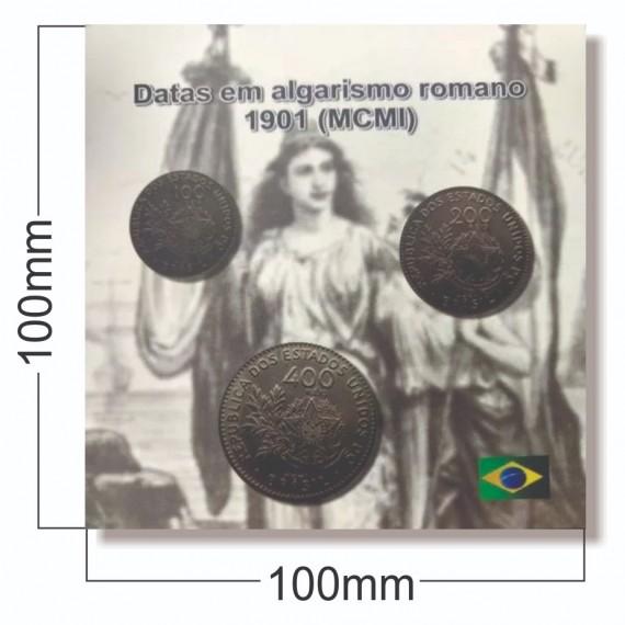 Cartela com moedas 1901 (MCMI)