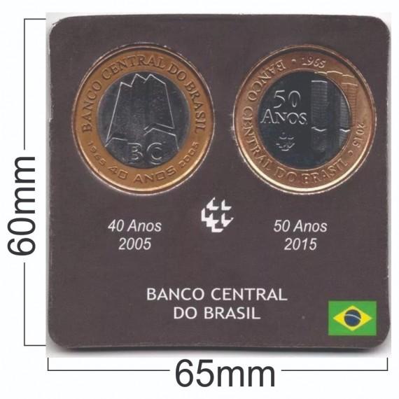 Cartela para moeda - Banco Central 40 e 50 anos