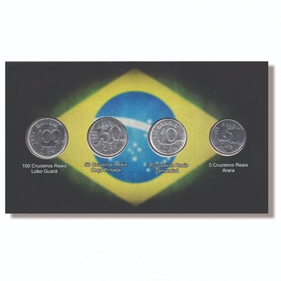Cartela para moedas Cruzeiro Reais 1993 com as moedas